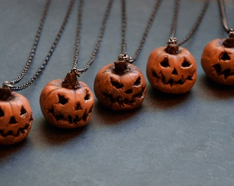 Hand Sculpted and Painted Polymer Clay Pumpkin Pendant Necklace | Jack O' Lantern | Halloween Necklace