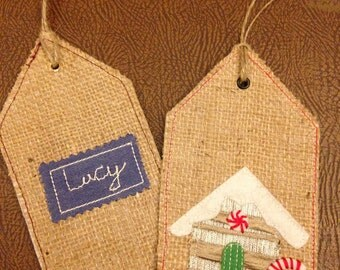 Hessian Christmas Tags, Personalised tag, Xmas tree hanger, Gingerbread house tag, Hessian twine gifttag, Xmas present label, Child gift tag