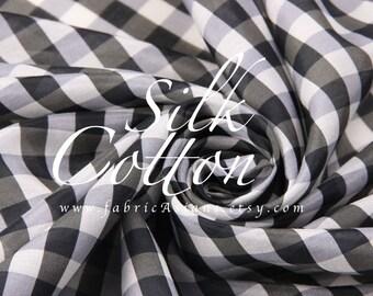 Black White Gingham fabric Silk Cotton