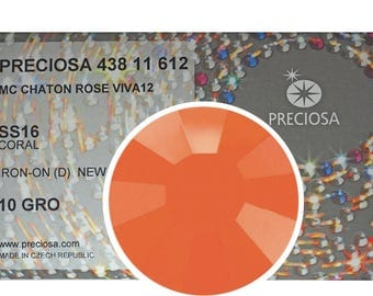 HOTFIX, 1440 Preciosa Genuine Czech Crystals 16ss Coral Opaque Viva12 Iron-on, ss16, 4mm, MC Chaton Rose Viva 12 facet Rhinestones