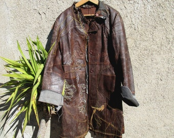 Incredible vintage custom leather coat, OOAK grunge steampunk post apocalypse brown long leather jacket