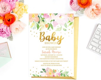 Peach Baby Shower Invitation Printable, Pink Gold Confetti Baby Shower  Invitation, Watercolor Floral Faux