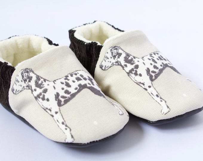 black cord and linen, baby boy shoes/moccs with Dalmatian dog