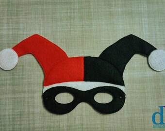 Villain Felt Embroidered Mask - Jester Girl Mask - Kid & Adult - Creative Play - Halloween Costume