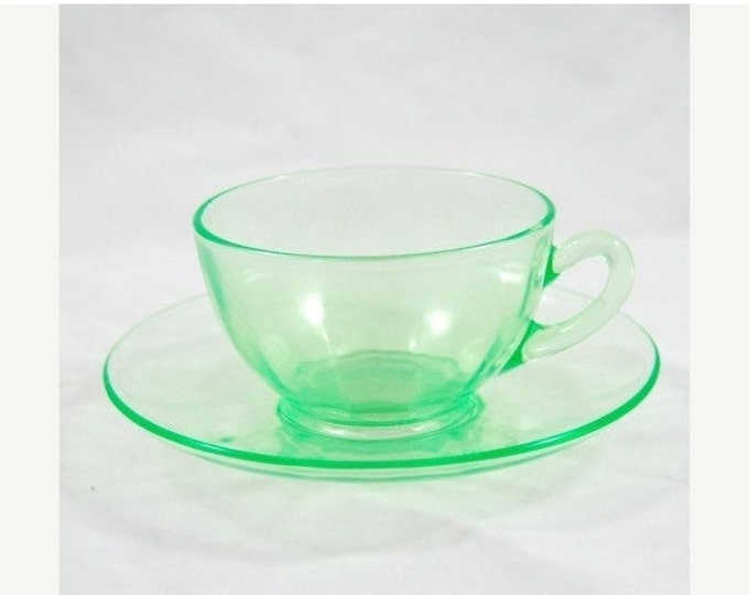 Storewide 25% Off SALE Vintage Atomic Green Depression Ware Teacup With Matching Saucer Featuring Wonderful Lightly Tinted Fluorescent Green
