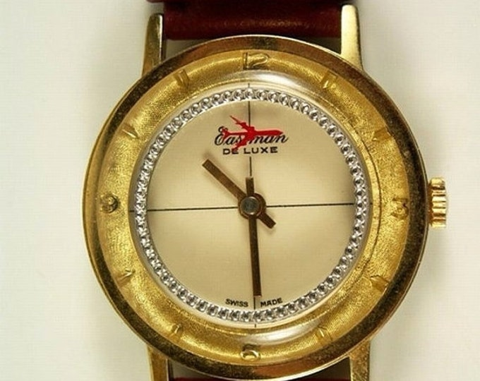 Storewide 25% Off SALE Vintage Gentlemans Eastman Delux Swiss Made Mechanical Watch Featuring Red Jet Second Hand & Original Brown Leather B