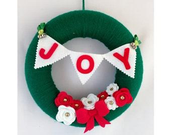 Joy Christmas Wreath, Christmas Wall Decor, Door Decor, Indoor Winter Wreath, Felt Christmas Decor, Mantel Decoration, Holiday Decor