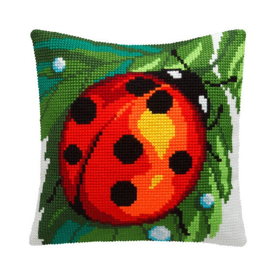 Cross Stitch Kit, Ladybug Pillow, Size 16