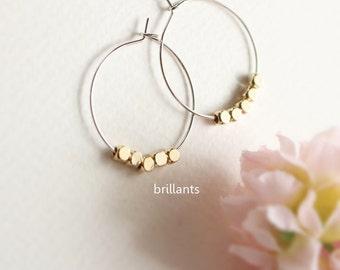 Nugget Hoop Earrings,  Gold nugget hoops,  Silver nugget earrings, Everyday earrings, Wedding earrings, Bridesmaid earrings