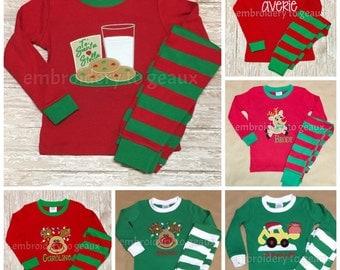 Monogrammed Christmas Pajamas, Personalized Christmas Pajamas, Kids Christmas Pajamas, Family Christmas Pajamas, 6 Months