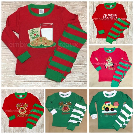 Monogrammed Christmas Pajamas Personalized Christmas Pajamas