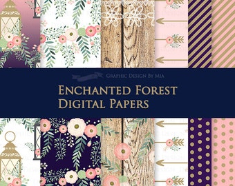 Enchanted Forest Digital Paper Pack - Instant Download - DP147