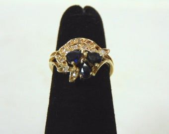 Womens Vintage Estate 14K Yellow Gold w/ Blue Sapphire & Diamonds 2.1g #E2986