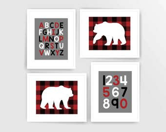 Printable DIY Dark Red Navy Woodland Bear Boy nursery art, Alphabet Numbers ( 523set810)( n140)