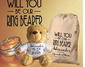Will You Be Thank Personalised Ring Bearer Teddy Bear With Matching Gift Bag