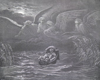 Baby Moses on the Nile by Gustave Dore Antique Print C. 1870, Bible, (81)