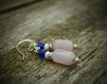 Sterling Silver Dangle Earrings, Cobalt Blue and Pink Glass Beads, Freshwater Pearls, Cute, Fun