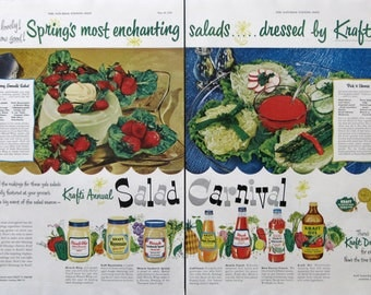 1953 Kraft Salad Dressing Ad - Strawberry Emerald Salad Recipe - Miracle Whip, Mayonnaise - 1950s Vintage Food Ads