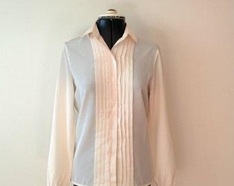 Vintage White Shirt / 1970s Shirt / Sportscraft cream shirt /mad men / vintage office / classic shirt