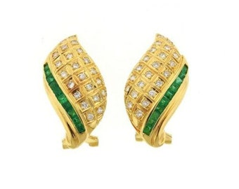 18K Yellow Gold Natural Emerald Diamond Domed Curved Leave Foliate Earrings