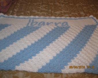 "Custom made orders Handmade c2c crochet baby blanket afghan, boy or 30 x 30"" baby shower gift"