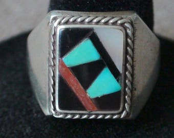 Native American Zuni Sterling Silver Turquoise Coral Onyx MOP Ring Size 9.5 Signed