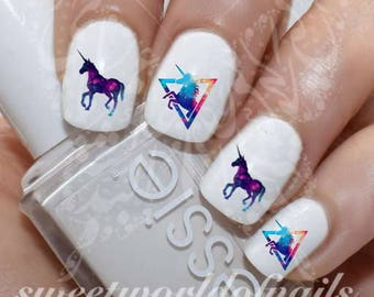 Unicorn nail art etsy unicorn nail art galaxy unicorn nail water decals transfers wraps prinsesfo Image collections