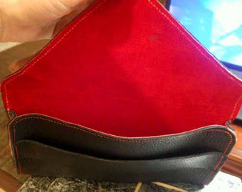 Custom Ladies Envelope Leather Clutch with Hand Strap