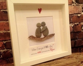When I Saw You... Cornish Pebble Art Picture
