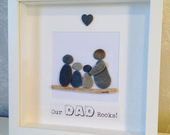 Our Dad Rocks - Cornish Pebble Art Picture