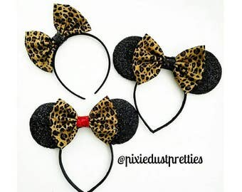 Leopard  Minnie Ears, cheetah minnie ears, mouse ears, minnie mouse, animal kingdom, wild, cheetah bow, Leopard bow, Minnie, mouse