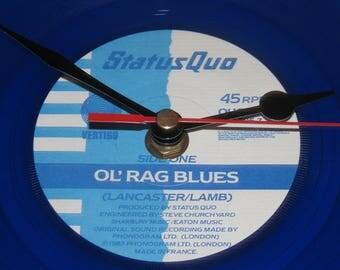 """Status Quo Ol' rag blues 7"""" blue  vinyl record clock"""
