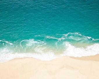 Teal Beach Print, Cabo Beach photo, beach decor, Pacific Ocean print, teal decor, blue, ocean photo, ocean, sand, beach house decor, nature