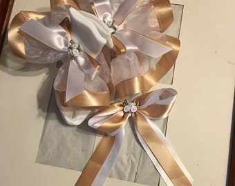 Girl white organza and tan ribbon ruffle trim