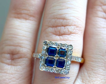 SALE! Vintage 18K Sapphire And Diamond Ring