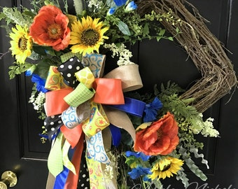 Morning Glory and Sunflower Spring/Summer Wreath