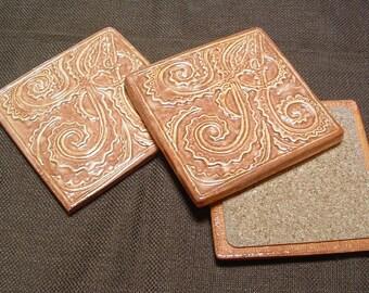 Tile Coaster set of 3, Fern design tile coasters, handmade, dappled coral glaze