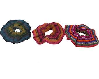 Three (3) Cloth Hair Scrunchies in random colors (1205-10-AS)