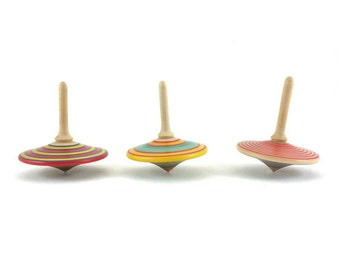 Three wood turned spinning tops (group C), Spinning Top, Party favors, Wooden gifts, Classic toys, Wedding favors, SilvanWoodturning