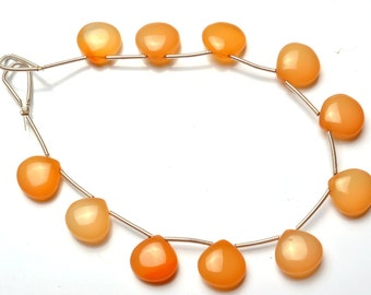 1  Full Stand 7 Inch Long Strand,Superb  CHALCEDONY  Smooth Heart Shape Beads Briolettes 12  MM size