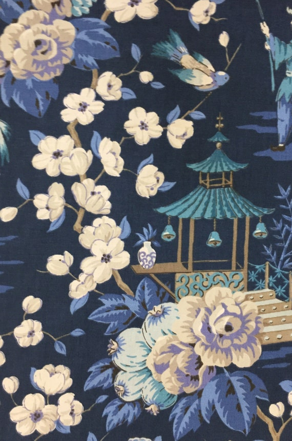 Navy Blue Chinoiserie Pagoda Peach Blossom Asian