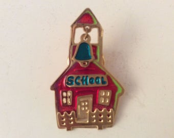 A Cute School House Figure Brooch Pin, Two Hands on the back.