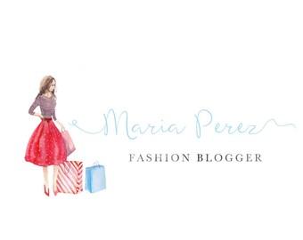 Premade logo - Logo design - Fashion blogger - watercolor - calligraphy