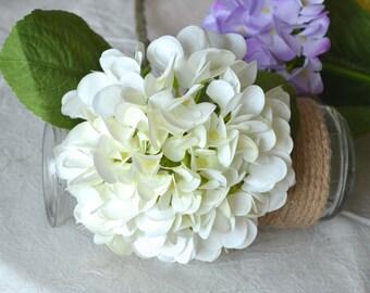 White Cream Hydrangeas Real Touch Hydrangeas for Silk Wedding Bridal Bouquets Centerpieces Decorative Flowers