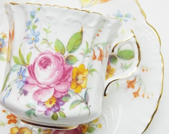 Hammersley Rose Flower Bouquet Vintage Tea Cup and Saucer Fine Bone China Made in England 28