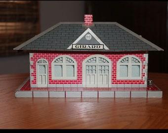 Vintage Marx Train Station Waiting Room -Marx Whistling Train Station Girard -Mid Century Modern Tin Litho Train Station by Marx Toy Company