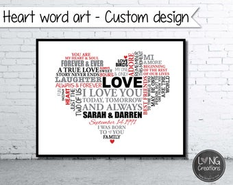 Heart Word Art - love heart art print - Wedding Gift - Anniversary Gift - Personalized Word Art - Typography - PRINTABLE DIGITAL FILE