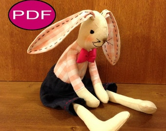 bunny pattern  bunny sewing pattern DIY tutorial PDF doll pattern stuff bunny pattern rag doll cloth doll pattern doll making patterns