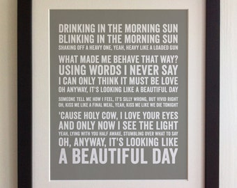 FRAMED Lyrics Print - Elbow, One Day Like This - 20 Colours options, Black/White Frame, Wedding, Anniversary, Valentines, Fab Picture Gift