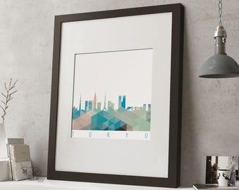 """FRAMED Geometric Tokyo Print, 12""""x10"""" Black or White Frame, Modern Art"""